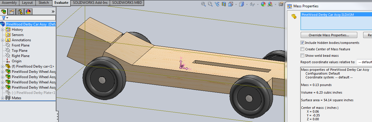 Solidworks And The Pinewood Derby