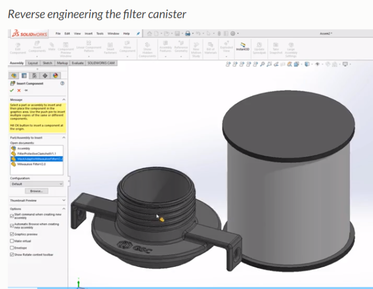 Reverse Engineering Police Respirator Mask Canister in SOLIDWORKS for Milwaukee Police