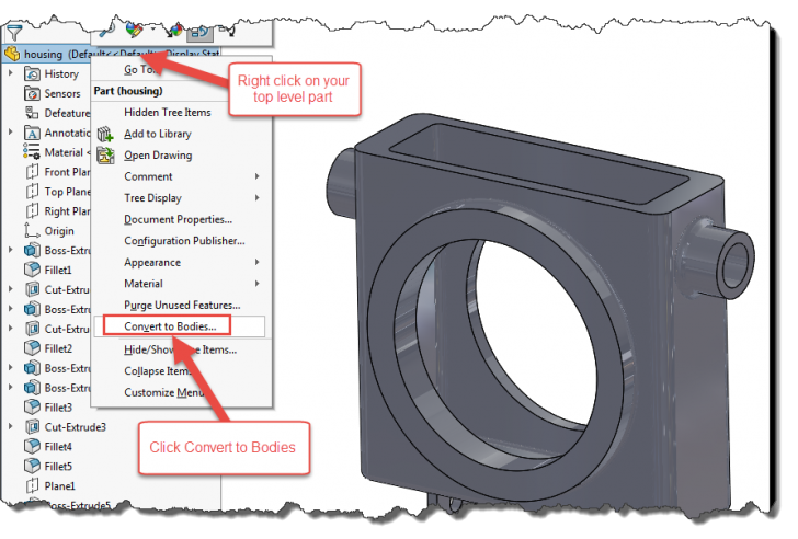 SOLIDWORKS 2017 – Converting Features to Bodies
