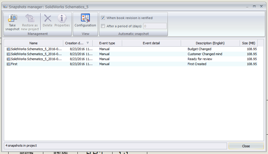 SOLIDWORKS Electrical Snapshot Manager