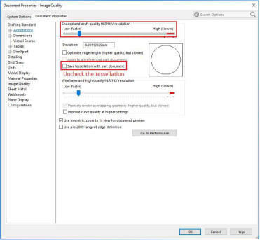 SOLIDWORKS File Size - Save Tessellation Setting