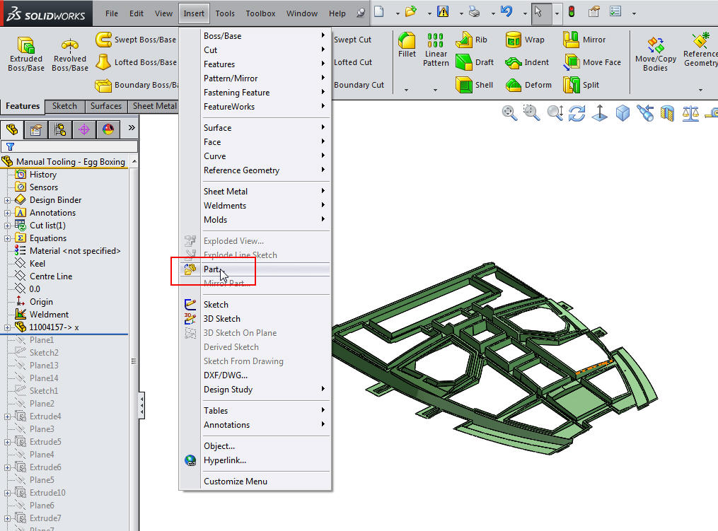 Replacing Inserted Parts for Master Modelling
