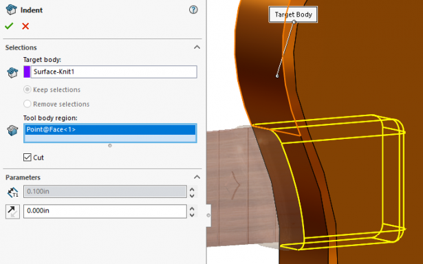 SOLIDWORKS Indent Tool Becoming Pocket Tool