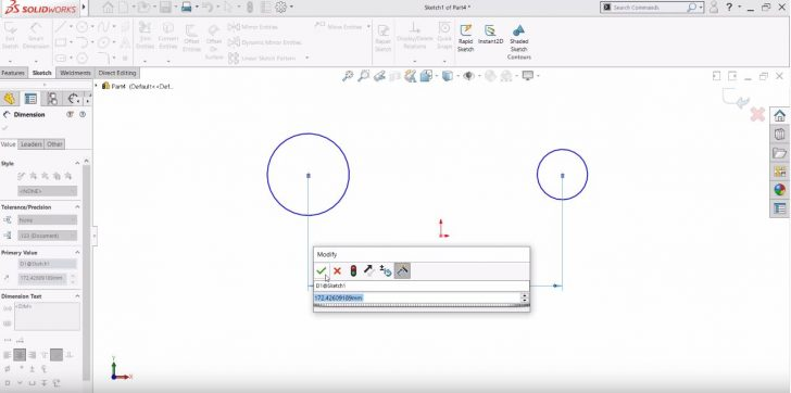 Using SOLIDWORKS' Smart Dimension Tool When Sketching Arcs & Circles