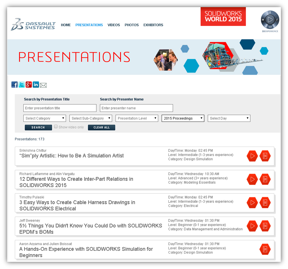 SOLIDWORKS World Proceedings Site
