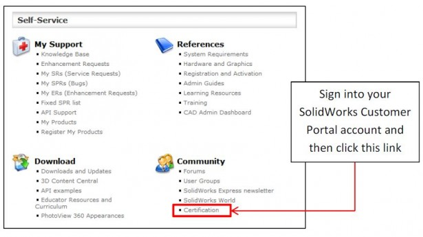 Certification area within SOLIDWORKS Customer Portal