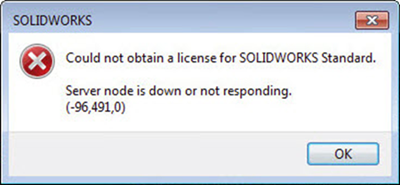 could not obtain license key. Server nogde is down or not responding