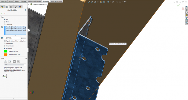 Solidworks Simulation Define Shell Elements By Selected