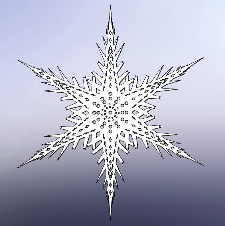 Ive Tasked Myself To Design A Snowflake Using All Of The Feature Patterns Available In SOLIDWORKS