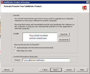 Display of serial numbers in SolidNetwork License manager
