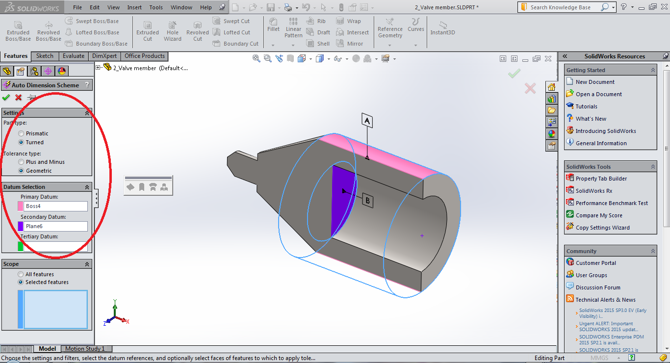 Plunger Datum Selection using DimXpert in SolidWorks