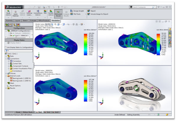 Results Comparison with SolidWorks Simulation Configurations
