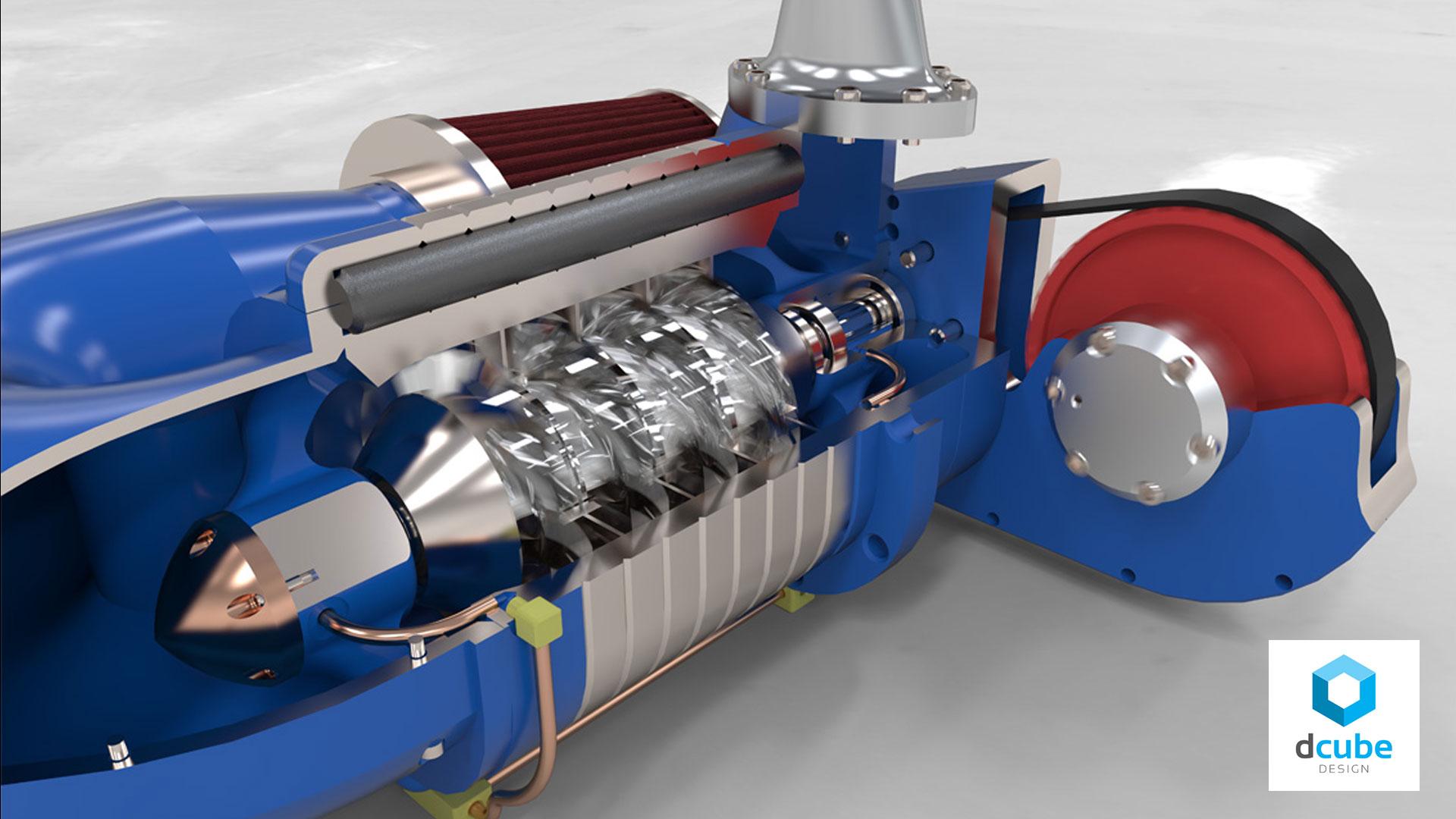 SolidWorks-Visualize-Supercharger-Render-Motion-Blur-Innova-Systems-D Cube Design-Ltd