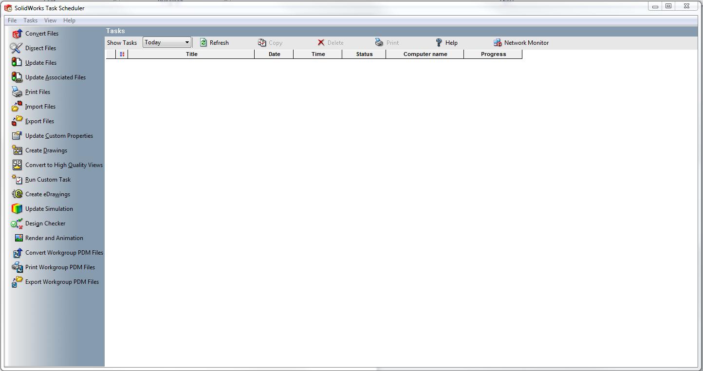 Solidworks task scheduler