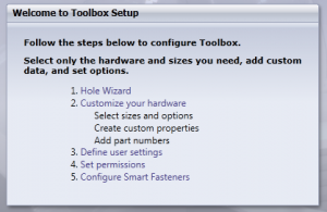 Toolbox Setup Menu