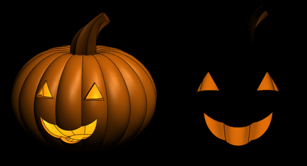 Turning off the lights for our jack o lantern in SOLIDWORKS