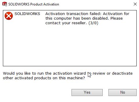 Activation transactionhas been Disabled