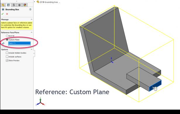 SOLIDWORKS 2018 Bounding Box Custom Plane