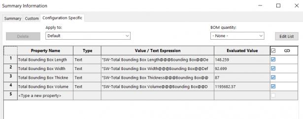 SOLIDWORKS Bounding Box Custom Properties