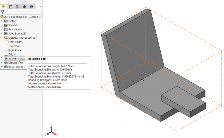 SOLIDWORKS 2018: Bounding Box Function Available in Any Part