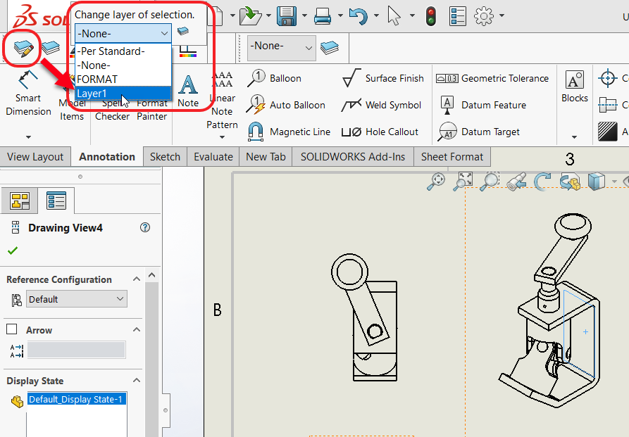 Drawing View With Component and Line Format Toolbar