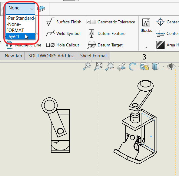 Drawing View of Component and Layer Name Dropdown