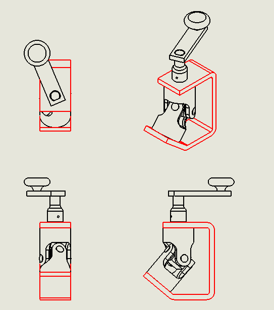 Drawing View of Components in Black and Red