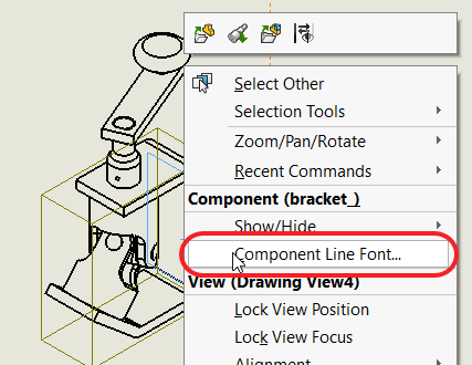 Component Line Font Selected