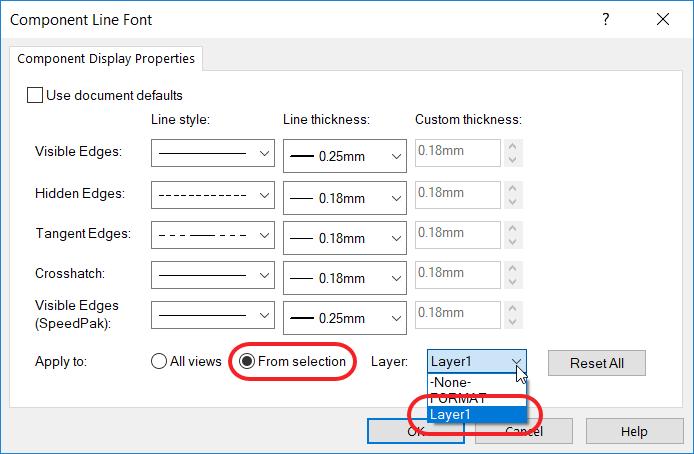 Component Line Font Box With From Selection and Layer 1 Selected