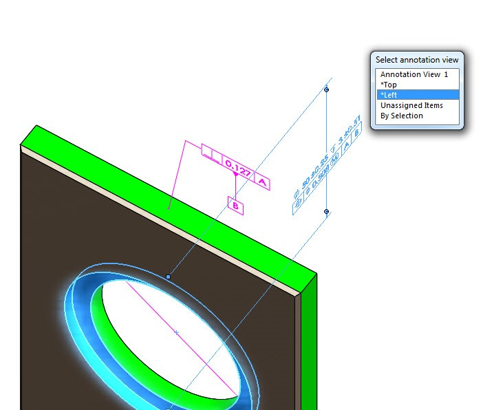 Diameter Dimensions in Section View