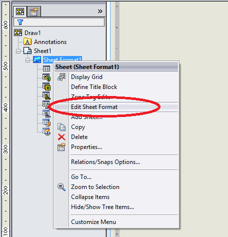 How to edit and customize sheet format in SOLIDWORKS
