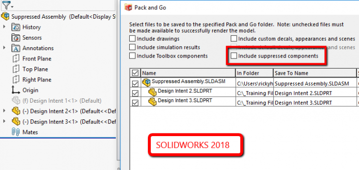 SOLIDWORKS 2018: What's New – Include and Exclude Suppressed Components in Pack and Go