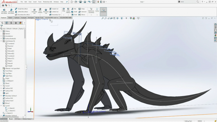 Designing and 3D Printing a Kaiju in SOLIDWORKS