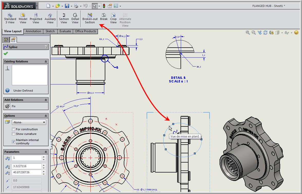 Broken Out Section View In A Drawing Here Is An Example Of Electrical Blueprint Once The Spline Closed Menu Will Appear Command Manager Click On Preview To See Your Cut More Clearly