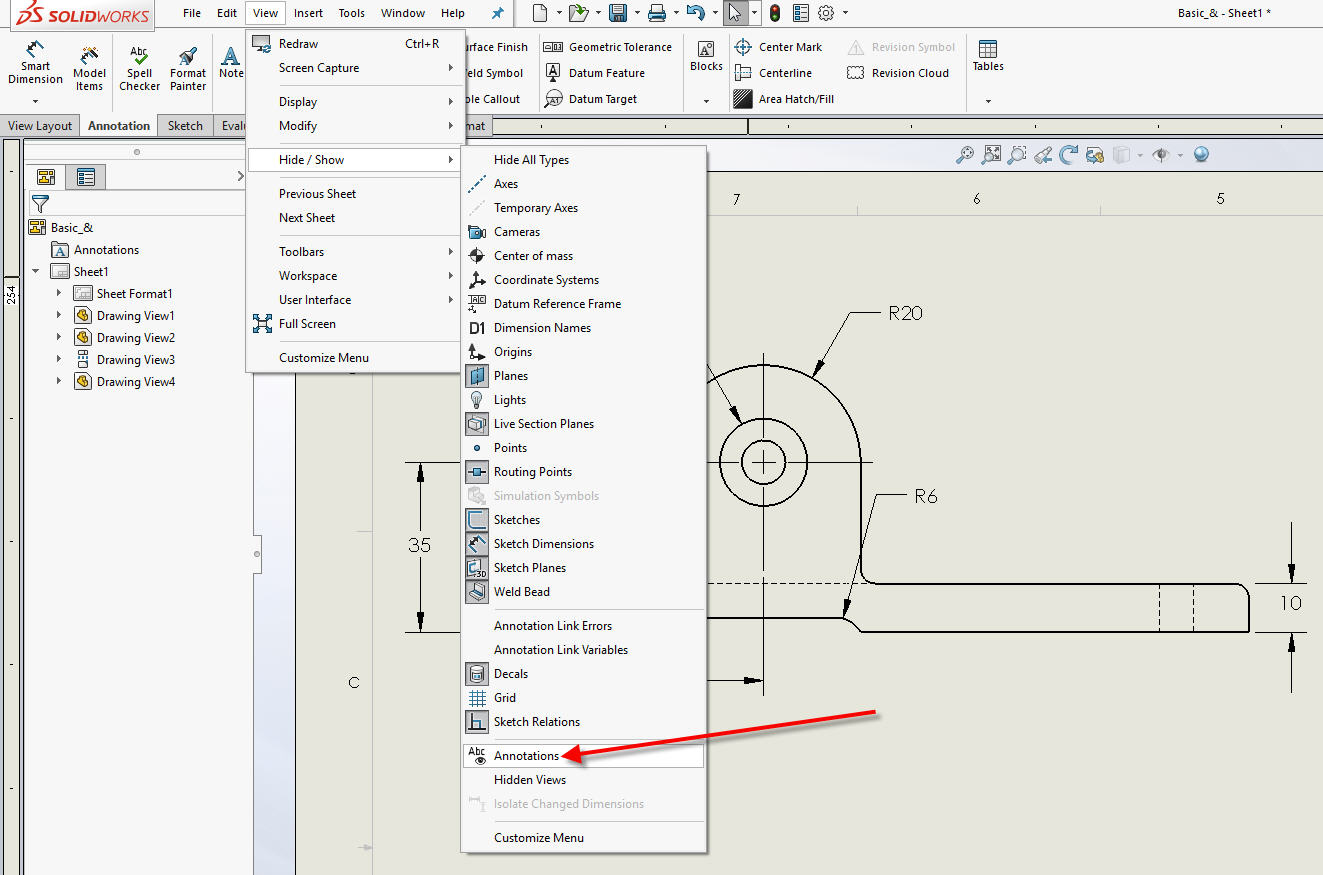 How to Hide/Show Dimensions in a SOLIDWORKS Drawing