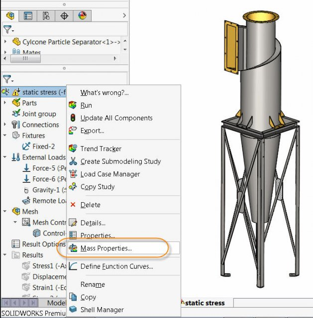 SOLIDWORKS Simulation 2017 Mass Properties of Simulation Studies