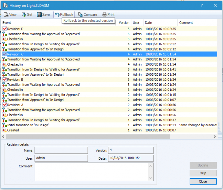 SOLIDWORKS PDM 2017 Rollback Enhanced to include References