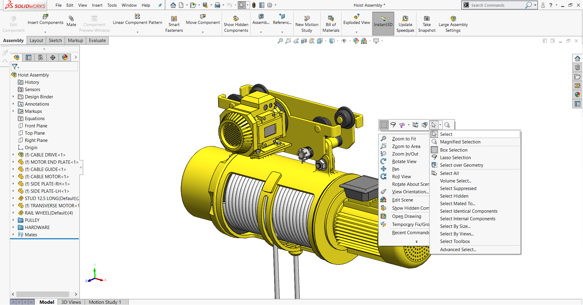 SOLIDWORKS Standard toolbar area
