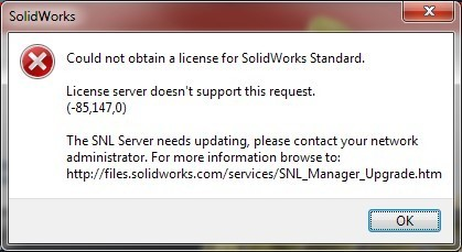 could not obtain license for SOLIDWORKS- license server does not support this request