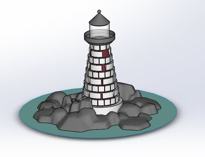 SOLIDWORKS Part Reviewer: Variable Pattern Rocky Lighthouse
