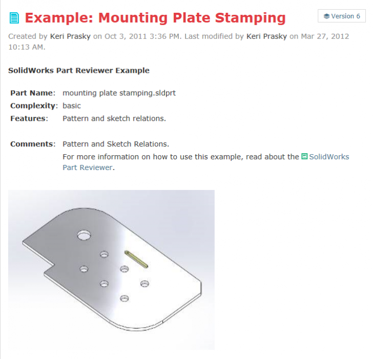 SOLIDWORKS Part Reviewer: Mounting Plate Stamping