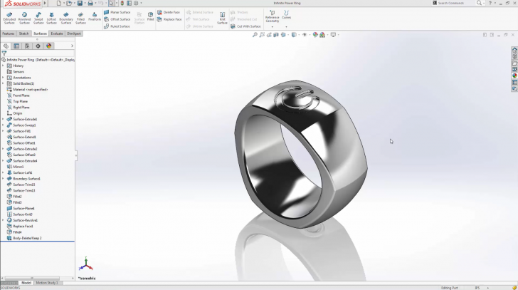 SOLIDWORKS Infinite Power Surfacing Ring – Part 1
