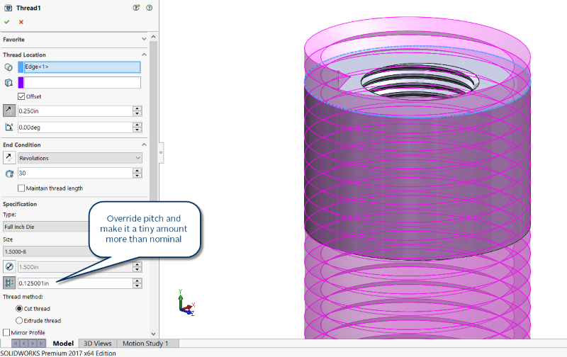 Sharp thread settings in SOLIDWORKS