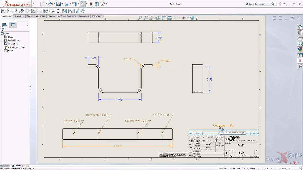 How To Add The Thickness Of Sheet Metal As Gauge In A Layout