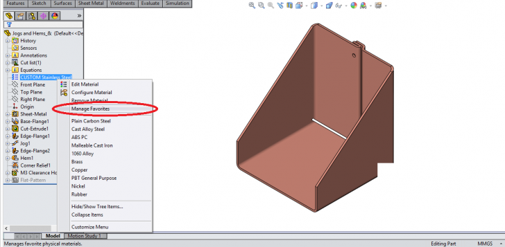 Managing your favorite materials using Materials Library in SOLIDWORKS