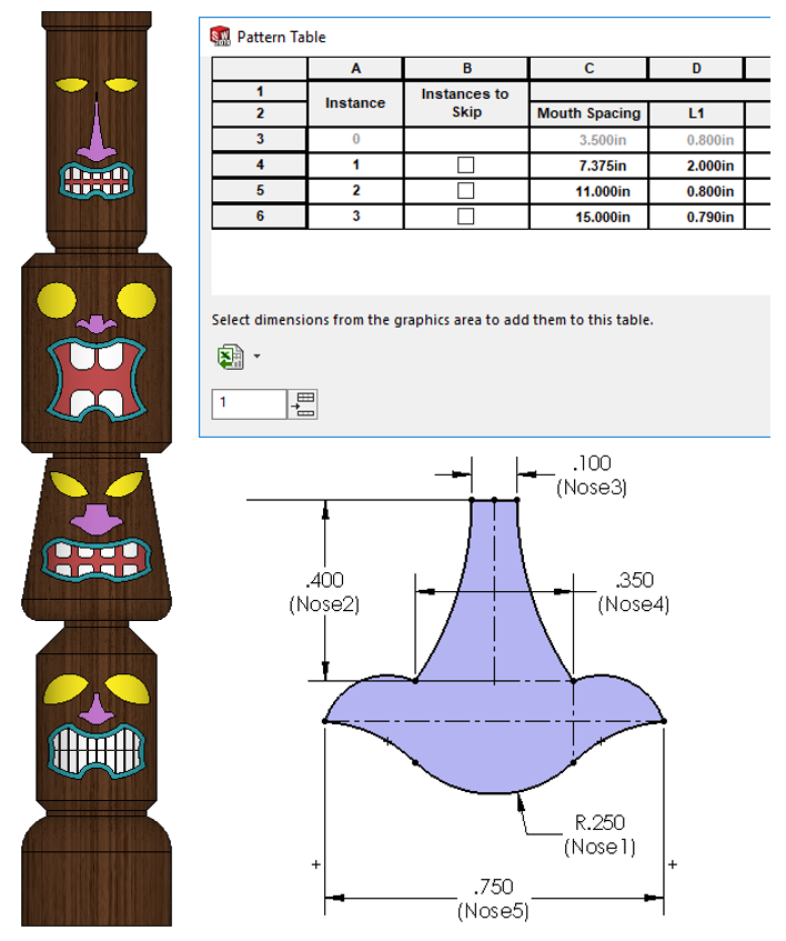 SOLIDWORKS Part Reviewer: Variable Pattern Tiki